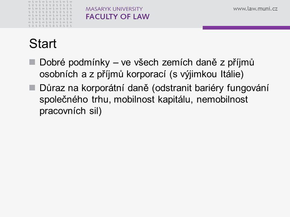 www.law.muni.cz Start Dobré podmínky – ve všech zemích daně z příjmů osobních a z příjmů korporací (s výjimkou Itálie) Důraz na korporátní daně (odstranit bariéry fungování společného trhu, mobilnost kapitálu, nemobilnost pracovních sil)