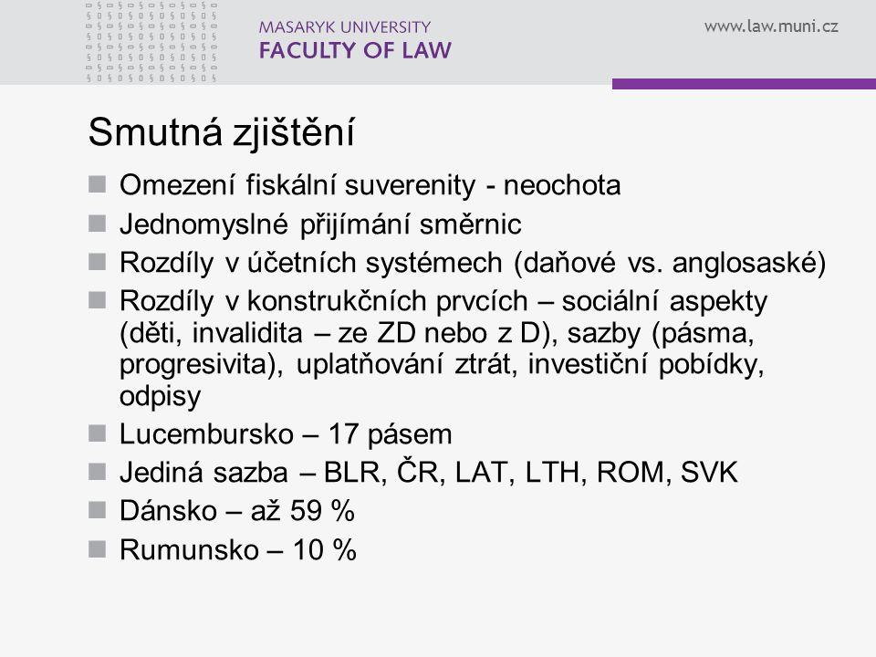 www.law.muni.cz Smutná zjištění Omezení fiskální suverenity - neochota Jednomyslné přijímání směrnic Rozdíly v účetních systémech (daňové vs.