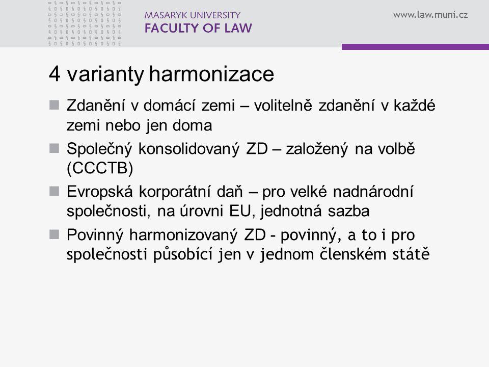 www.law.muni.cz 4 varianty harmonizace Zdanění v domácí zemi – volitelně zdanění v každé zemi nebo jen doma Společný konsolidovaný ZD – založený na volbě (CCCTB) Evropská korporátní daň – pro velké nadnárodní společnosti, na úrovni EU, jednotná sazba Povinný harmonizovaný ZD - povinný, a to i pro společnosti působící jen v jednom členském státě