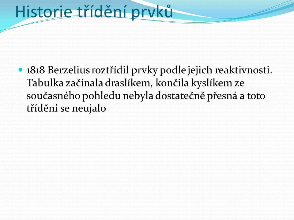 Historie třídění prvků 1818 Berzelius roztřídil prvky podle jejich reaktivnosti. Tabulka začínala draslíkem, končila kyslíkem ze současného pohledu ne