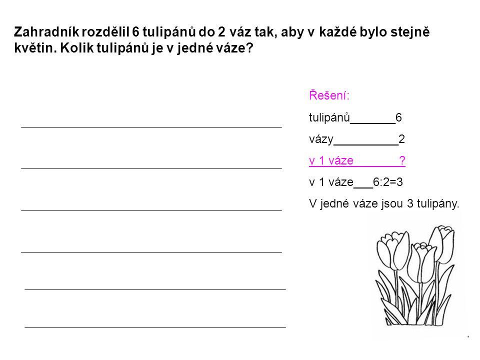 Zahradník rozdělil 6 tulipánů do 2 váz tak, aby v každé bylo stejně květin. Kolik tulipánů je v jedné váze? Řešení: tulipánů_______6 vázy__________2 v