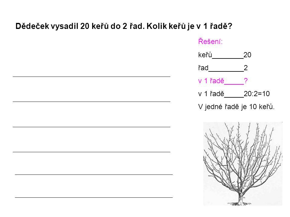 Dědeček vysadil 20 keřů do 2 řad. Kolik keřů je v 1 řadě? Řešení: keřů________20 řad_________2 v 1 řadě_____? v 1 řadě_____20:2=10 V jedné řadě je 10