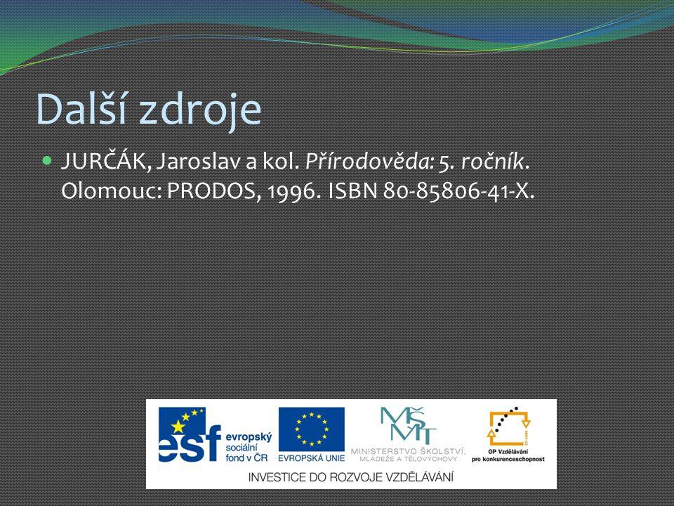 Další zdroje JURČÁK, Jaroslav a kol. Přírodověda: 5. ročník. Olomouc: PRODOS, 1996. ISBN 80-85806-41-X.