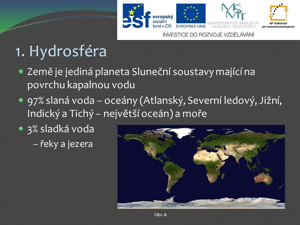 1. Hydrosféra Země je jediná planeta Sluneční soustavy mající na povrchu kapalnou vodu 97% slaná voda – oceány (Atlanský, Severní ledový, Jižní, Indic