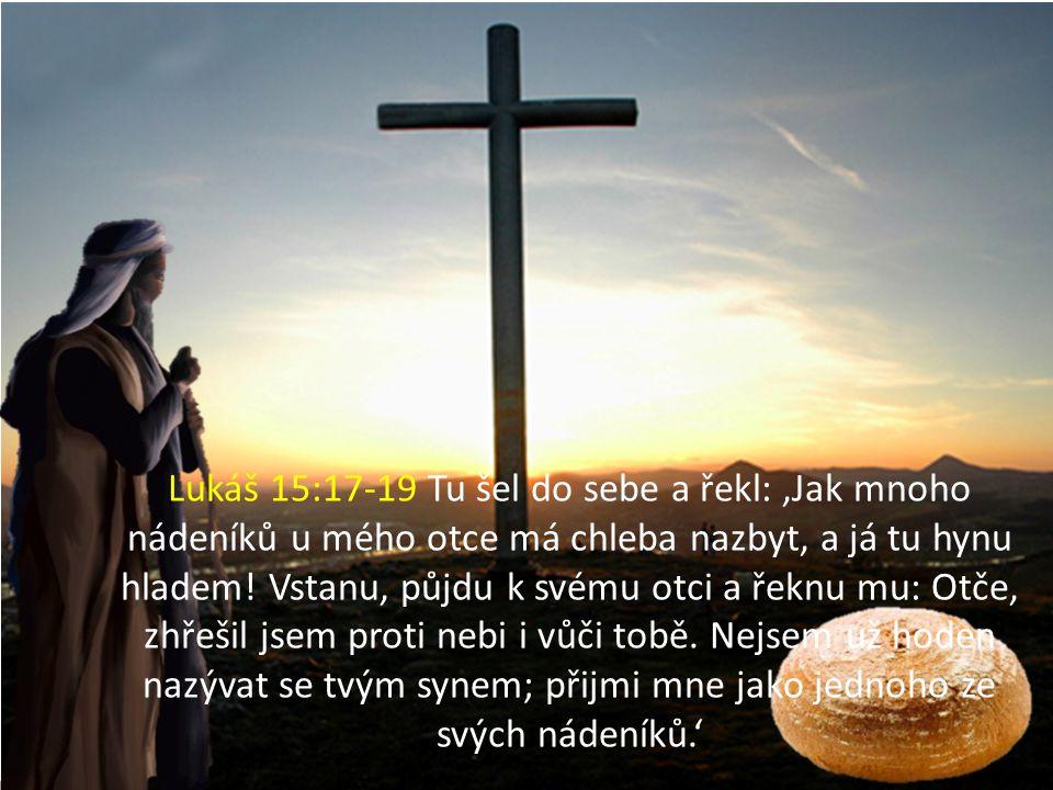 Lukáš 15:17-19 Tu šel do sebe a řekl: 'Jak mnoho nádeníků u mého otce má chleba nazbyt, a já tu hynu hladem! Vstanu, půjdu k svému otci a řeknu mu: Ot