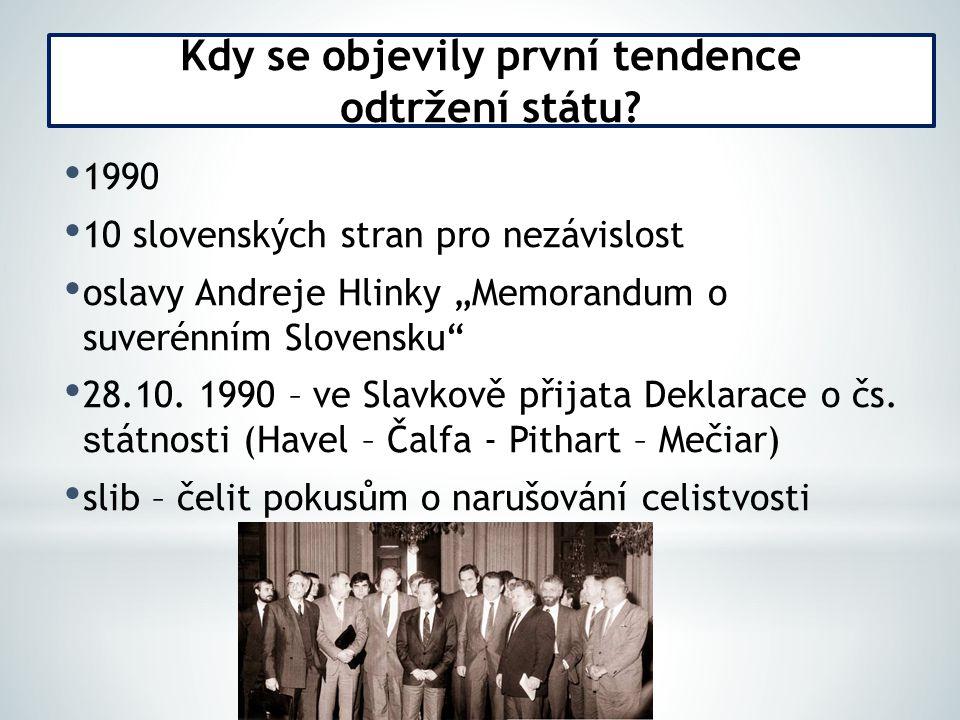 """1990 10 slovenských stran pro nezávislost oslavy Andreje Hlinky """"Memorandum o suverénním Slovensku 28.10."""
