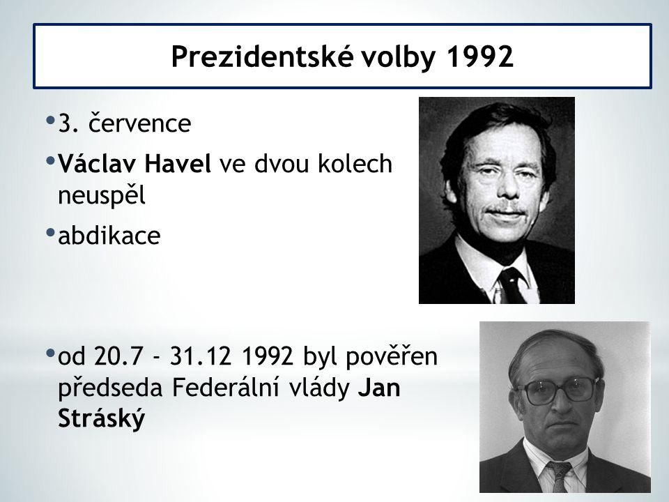 3. července Václav Havel ve dvou kolech neuspěl abdikace od 20.7 - 31.12 1992 byl pověřen předseda Federální vlády Jan Stráský Prezidentské volby 1992