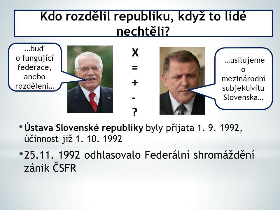 Ústava Slovenské republiky byly přijata 1. 9. 1992, účinnost již 1.