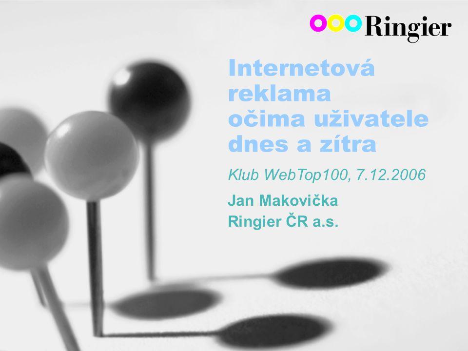 Internetová reklama očima uživatele dnes a zítra Jan Makovička Ringier ČR a.s.