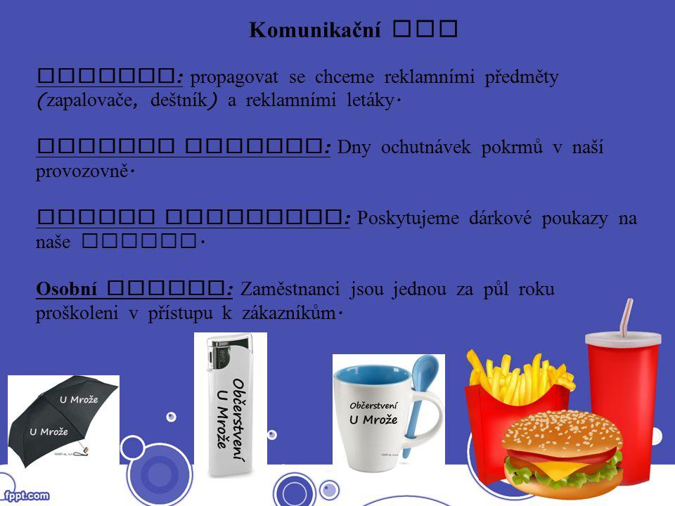 Komunikační mix Reklama : propagovat se chceme reklamními předměty ( zapalovače, deštník ) a reklamními let á ky. Podpora prodeje : Dny ochutn á vek p