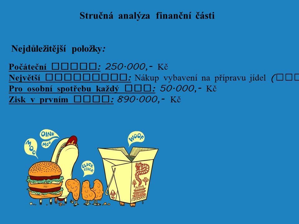 Stručn á analýza finanční č á sti Nejdůležitější položky : Poč á teční vklad : 250.000,- Kč Největší investice : N á kup vybavení na přípravu jídel (