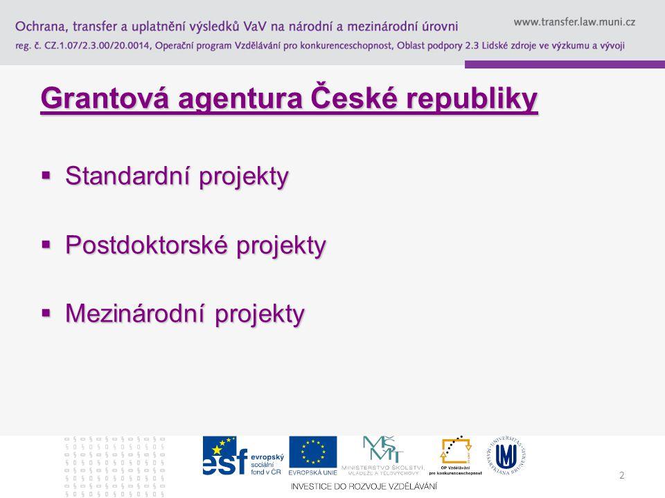 2 Grantová agentura České republiky  Standardní projekty  Postdoktorské projekty  Mezinárodní projekty