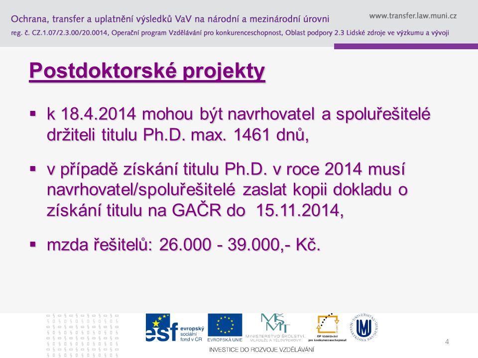 4 Postdoktorské projekty  k 18.4.2014 mohou být navrhovatel a spoluřešitelé držiteli titulu Ph.D.