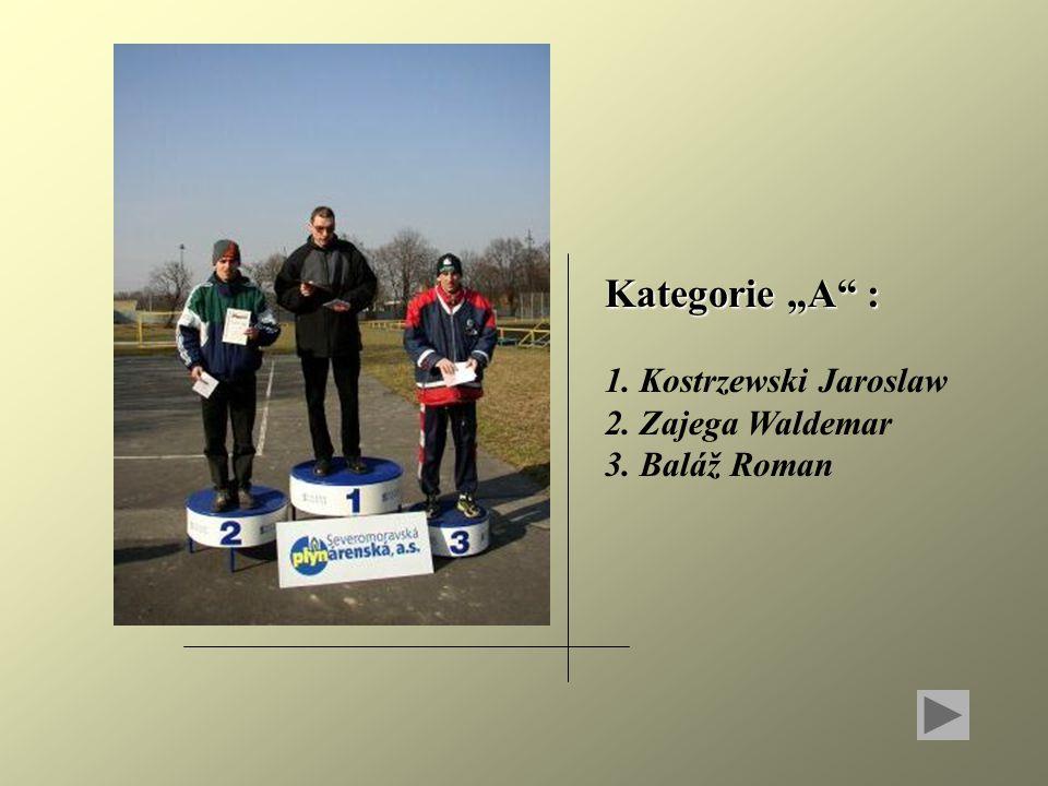 """Kategorie """"A : 1. Kostrzewski Jaroslaw 2. Zajega Waldemar 3. Baláž Roman"""