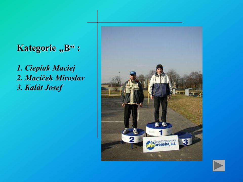 "Kategorie ""B : 1. Ciepíak Maciej 2. Macíček Miroslav 3. Kalát Josef"