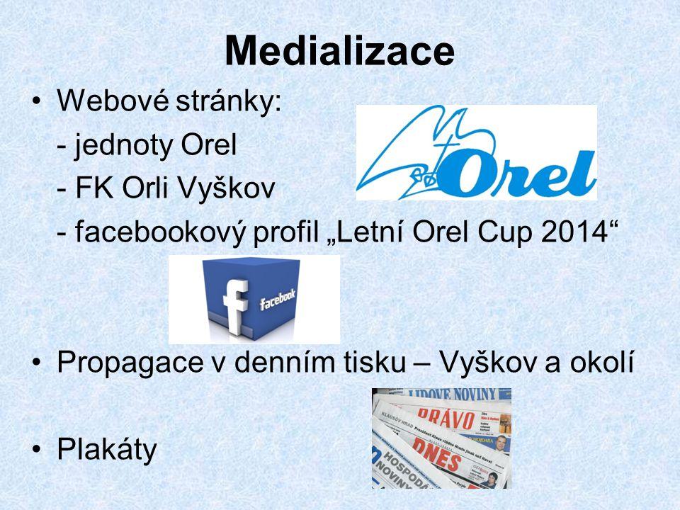 """Medializace Webové stránky: - jednoty Orel - FK Orli Vyškov - facebookový profil """"Letní Orel Cup 2014"""" Propagace v denním tisku – Vyškov a okolí Plaká"""