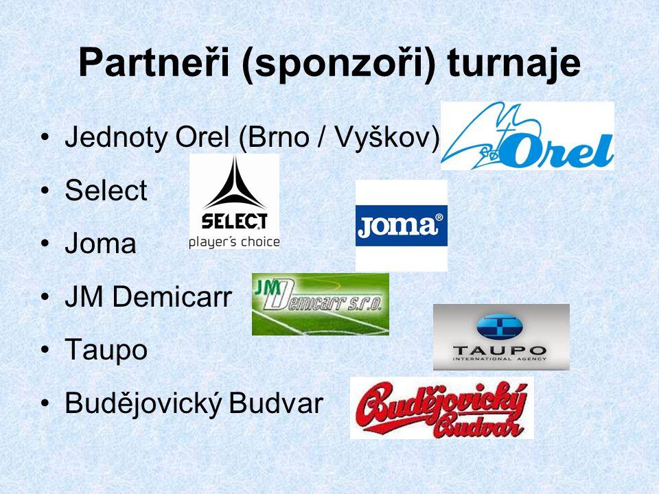 Partneři (sponzoři) turnaje Jednoty Orel (Brno / Vyškov) Select Joma JM Demicarr Taupo Budějovický Budvar
