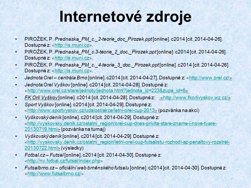Internetové zdroje PIROŽEK, P. Prednaska_PM_c._2-teorie_doc_Pirozek.ppt [online]. c2014 [cit. 2014-04-26]. Dostupné z: ˂ http://is.muni.cz ˃. http://i