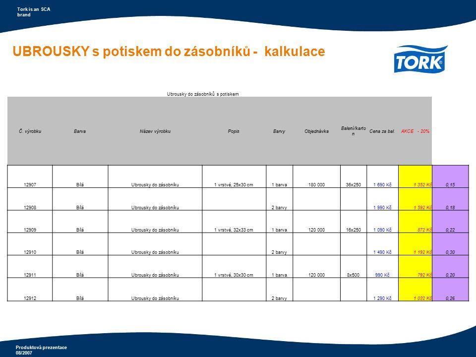 Produktová prezentace 08/2007 Tork is an SCA brand Ubrousky do zásobníků s potiskem Č. výrobkuBarvaNázev výrobkuPopisBarvyObjednávka Balení/karto n Ce
