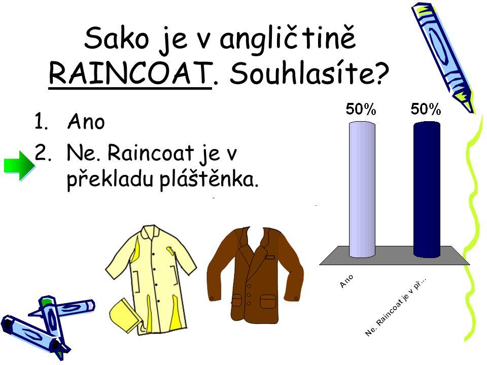 Kabát je v angličtině COAT. Souhlasíte 1.Ano 2.Ne