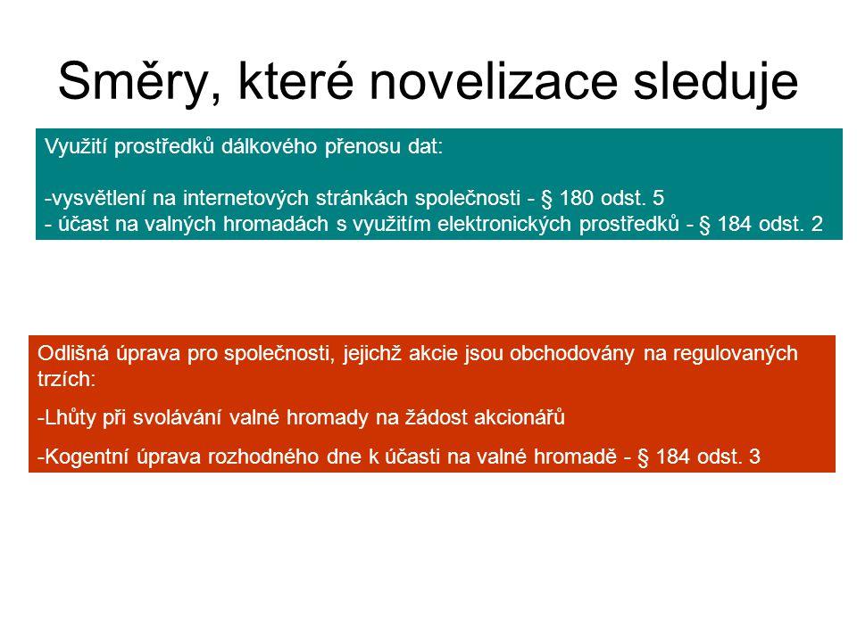 Směry, které novelizace sleduje Využití prostředků dálkového přenosu dat: -vysvětlení na internetových stránkách společnosti - § 180 odst.