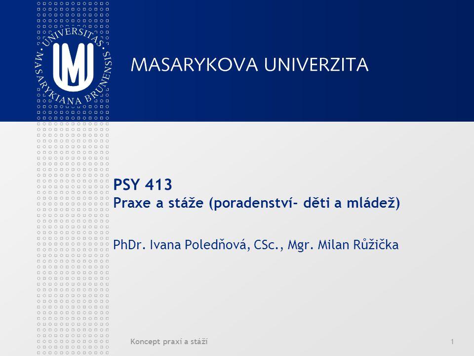 Koncept praxí a stáží1 PSY 413 Praxe a stáže (poradenství- děti a mládež) PhDr.