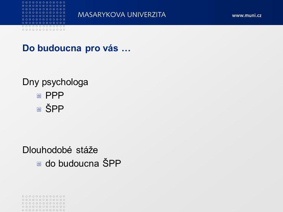 Do budoucna pro vás … Dny psychologa PPP ŠPP Dlouhodobé stáže do budoucna ŠPP