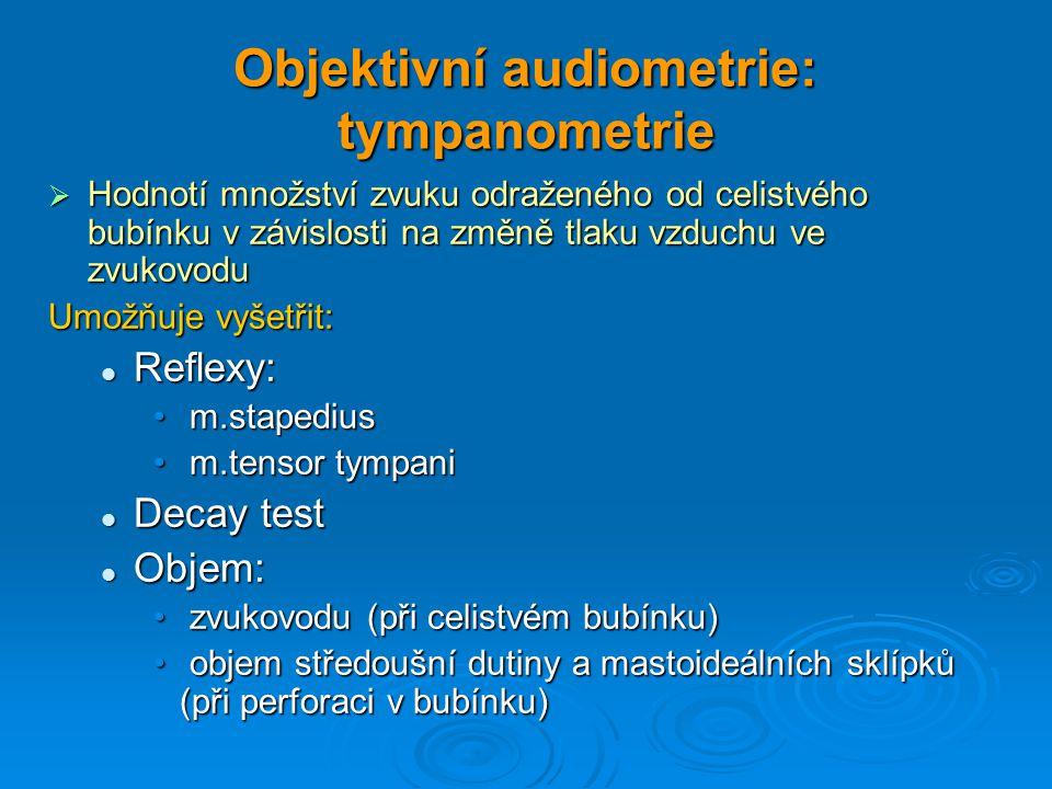 Objektivní audiometrie: tympanometrie  Hodnotí množství zvuku odraženého od celistvého bubínku v závislosti na změně tlaku vzduchu ve zvukovodu Umožň