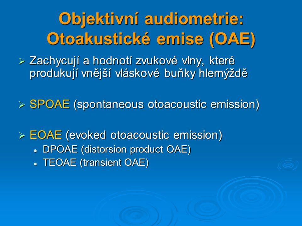 Objektivní audiometrie: Otoakustické emise (OAE)  Zachycují a hodnotí zvukové vlny, které produkují vnější vláskové buňky hlemýždě  SPOAE (spontaneo