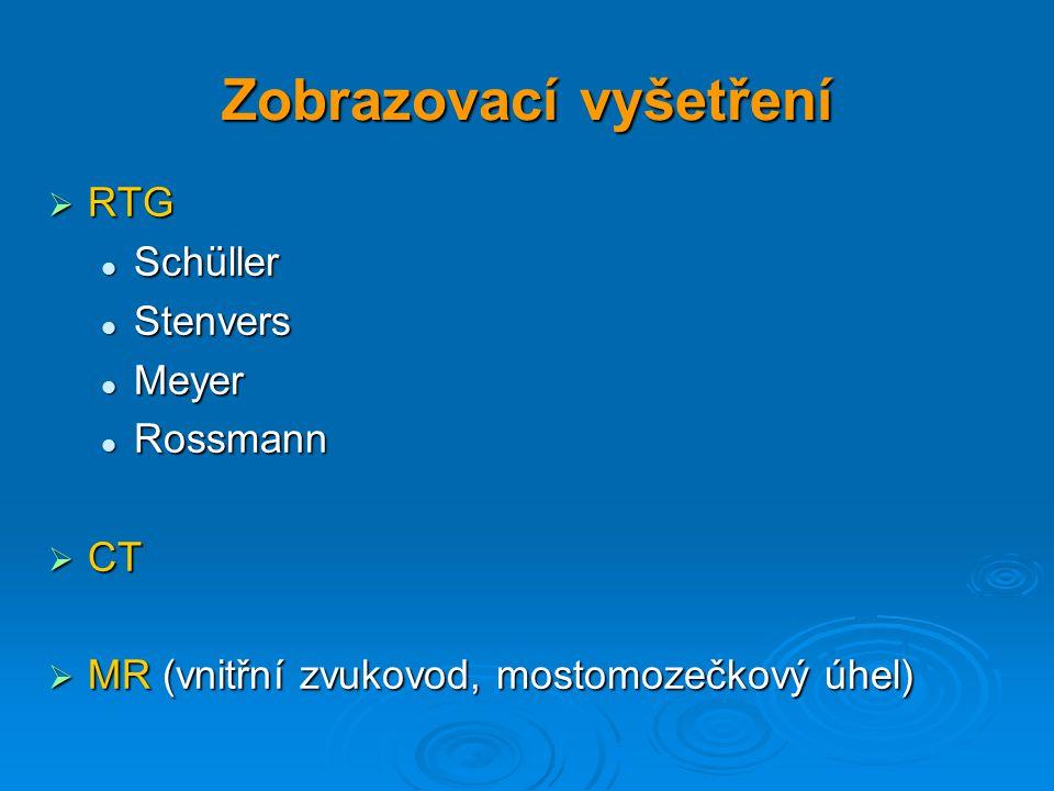 Zobrazovací vyšetření  RTG Schüller Schüller Stenvers Stenvers Meyer Meyer Rossmann Rossmann  CT  MR (vnitřní zvukovod, mostomozečkový úhel)