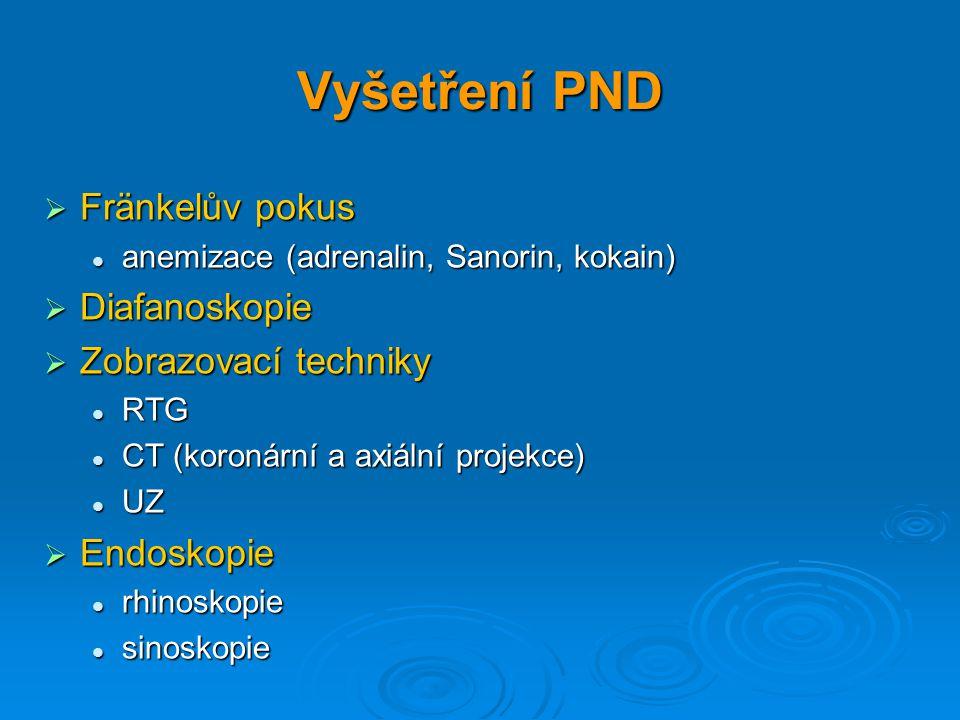 Vyšetření PND  Fränkelův pokus anemizace (adrenalin, Sanorin, kokain) anemizace (adrenalin, Sanorin, kokain)  Diafanoskopie  Zobrazovací techniky R