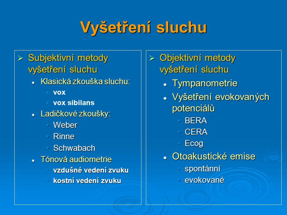 Vyšetření sluchu  Subjektivní metody vyšetření sluchu Klasická zkouška sluchu: Klasická zkouška sluchu: vox vox sibilans Ladičkové zkoušky: Ladičkové