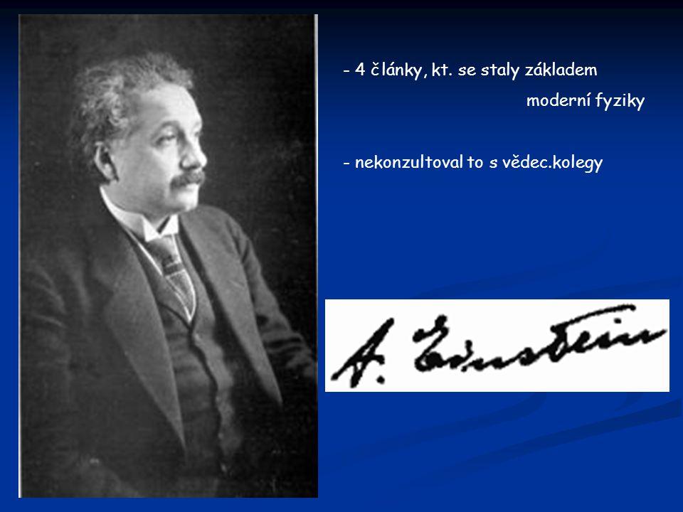 """- 1.článek- """"O pohybu — potřebném pro molekulární kinetickou teorii tepla — malých částic umístěným v klidné kapalině, - atomy uznávány jako užitečná představa, ale fyzikové a chemikové se vášnivě přeli o tom, zda vůbec existují - statistický popis chování atomů a jeho vysvětlení ukázaly experimentátorům cestu, jak spočítat atomy prostým pohledem do obyčejného mikroskopu - Wilhelm Ostwald- změnil názor právě díky Einsteinově kompletnímu vysvětlení Brownova pohybu -2.článek- """"O heuristickém hledisku dotýkajícím se vznikem a přeměnou světla - myšlenku světelných kvant (nyní nazývaných fotony)"""