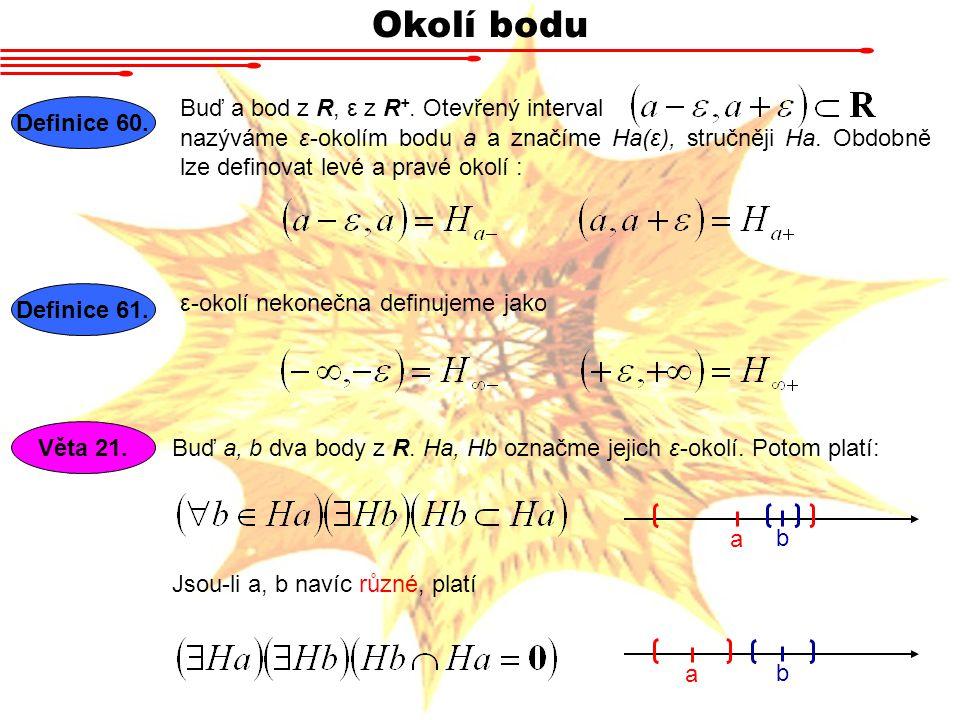 Okolí bodu Buď a bod z R, ε z R +.Otevřený interval Definice 60.