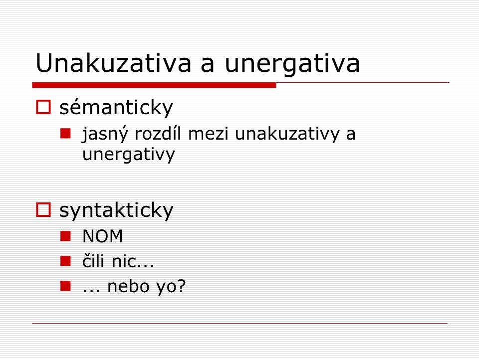Unakuzativa a unergativa  sémanticky jasný rozdíl mezi unakuzativy a unergativy  syntakticky NOM čili nic......