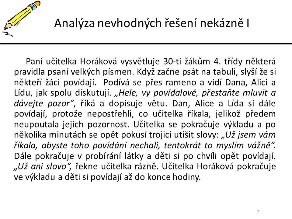 7 Analýza nevhodných řešení nekázně I Paní učitelka Horáková vysvětluje 30-ti žákům 4. třídy některá pravidla psaní velkých písmen. Když začne psát na