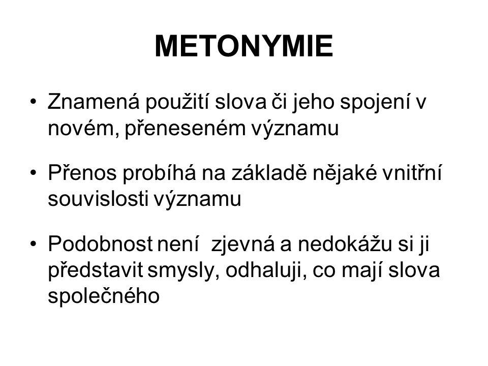 METONYMIE Znamená použití slova či jeho spojení v novém, přeneseném významu Přenos probíhá na základě nějaké vnitřní souvislosti významu Podobnost nen