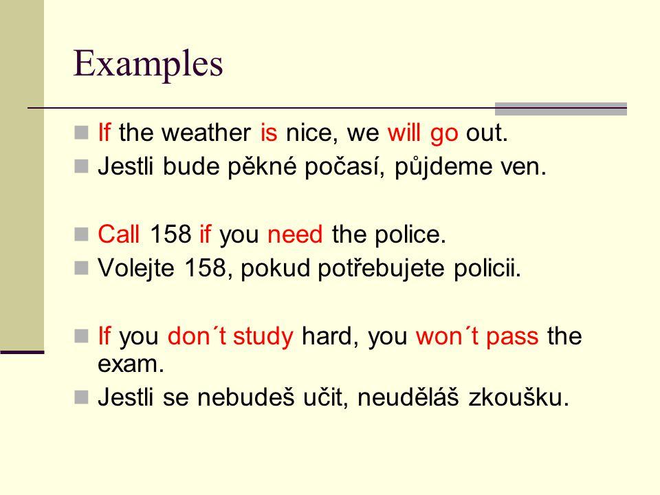 Examples If the weather is nice, we will go out.Jestli bude pěkné počasí, půjdeme ven.