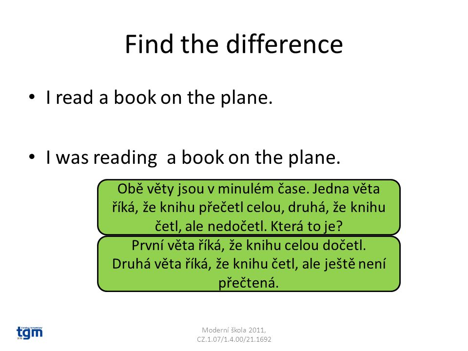 Find the difference I read a book on the plane. I was reading a book on the plane.