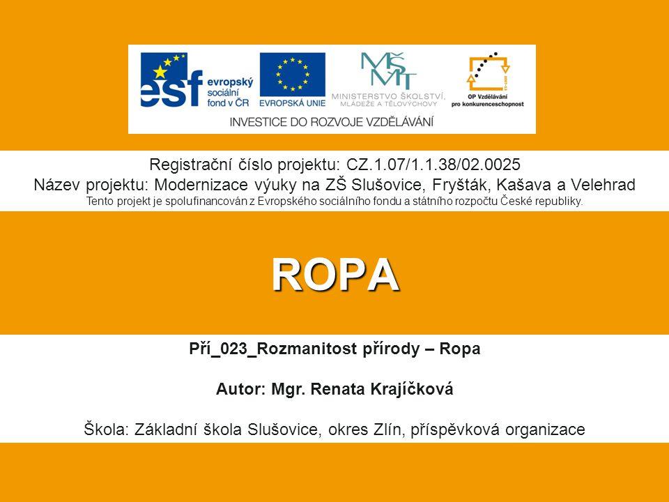 ROPA Pří_023_Rozmanitost přírody – Ropa Autor: Mgr. Renata Krajíčková Škola: Základní škola Slušovice, okres Zlín, příspěvková organizace Registrační