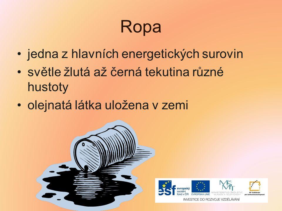 Ropa jedna z hlavních energetických surovin světle žlutá až černá tekutina různé hustoty olejnatá látka uložena v zemi