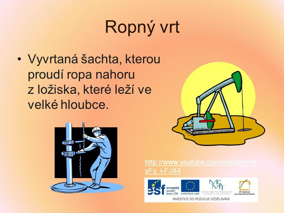 Ropný vrt Vyvrtaná šachta, kterou proudí ropa nahoru z ložiska, které leží ve velké hloubce. http://www.youtube.com/watch?v=b yFy_i-FJX4