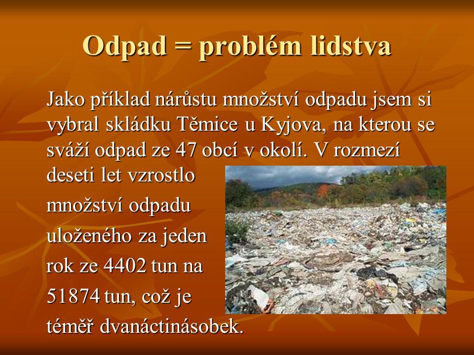 Odpad = problém lidstva Jako příklad nárůstu množství odpadu jsem si vybral skládku Těmice u Kyjova, na kterou se sváží odpad ze 47 obcí v okolí. V ro