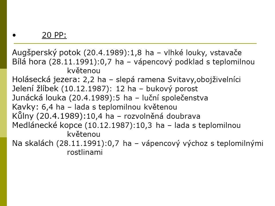 20 PP: Augšperský potok (20.4.1989):1,8 ha – vlhké louky, vstavače Bílá hora (28.11.1991):0,7 ha – vápencový podklad s teplomilnou květenou Holásecká
