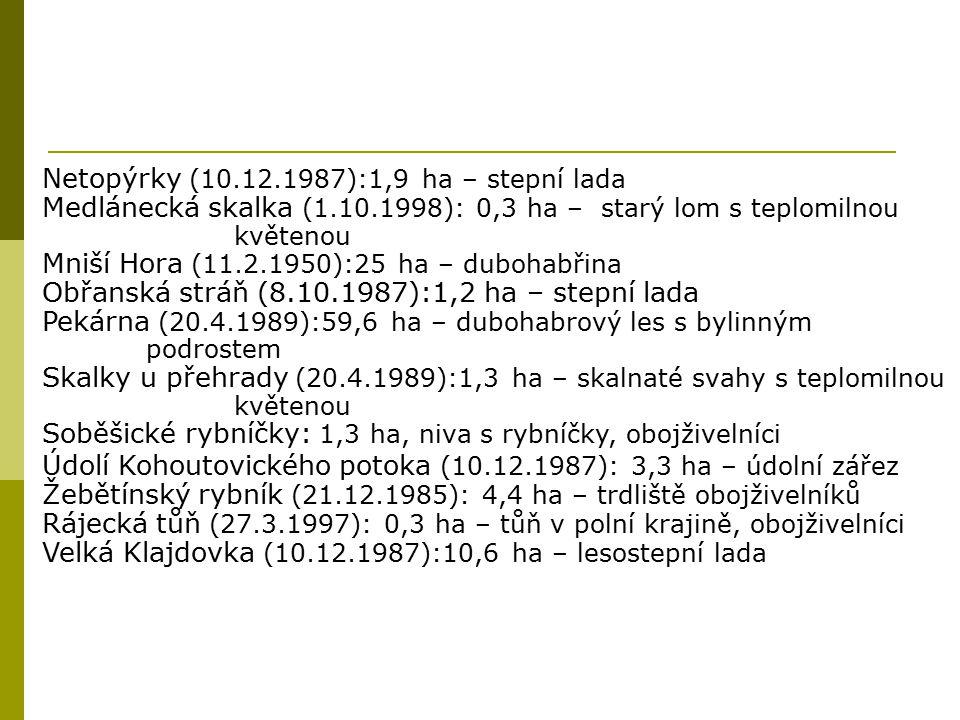 Netopýrky (10.12.1987):1,9 ha – stepní lada Medlánecká skalka (1.10.1998): 0,3 ha – starý lom s teplomilnou květenou Mniší Hora (11.2.1950):25 ha – du