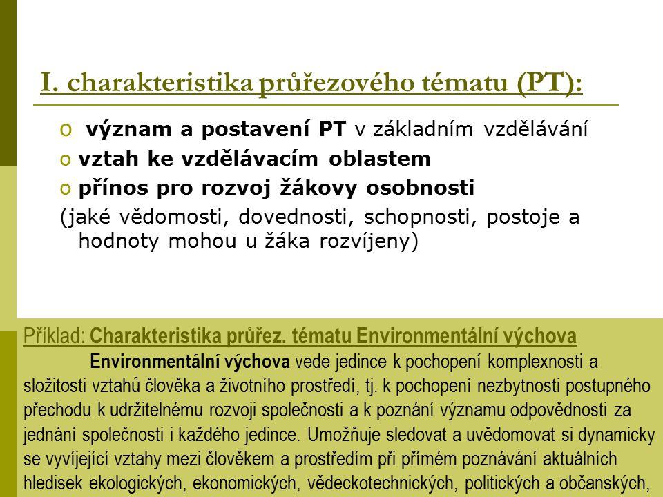 o význam a postavení PT v základním vzdělávání ovztah ke vzdělávacím oblastem opřínos pro rozvoj žákovy osobnosti (jaké vědomosti, dovednosti, schopno