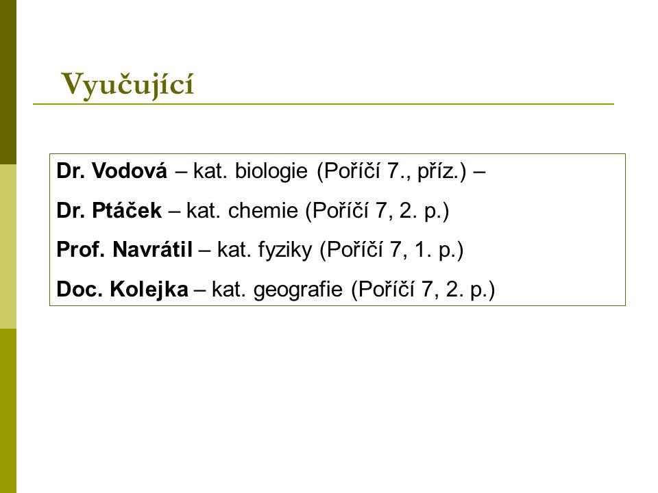 Dr. Vodová – kat. biologie (Poříčí 7., příz.) – Dr. Ptáček – kat. chemie (Poříčí 7, 2. p.) Prof. Navrátil – kat. fyziky (Poříčí 7, 1. p.) Doc. Kolejka