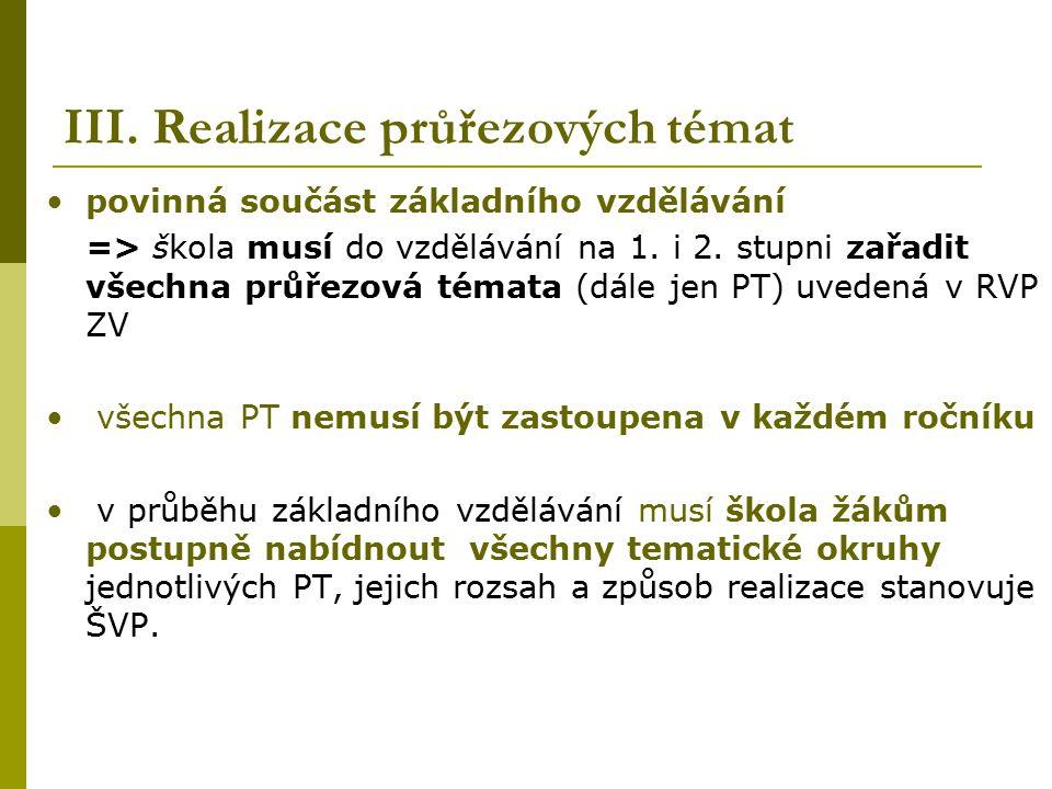 III. Realizace průřezových témat povinná součást základního vzdělávání => škola musí do vzdělávání na 1. i 2. stupni zařadit všechna průřezová témata