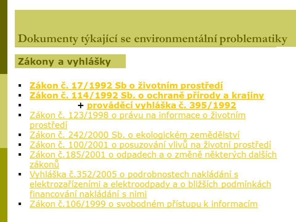  Zákon č. 17/1992 Sb o životním prostředí Zákon č. 17/1992 Sb o životním prostředí  Zákon č. 114/1992 Sb. o ochraně přírody a krajiny Zákon č. 114/1