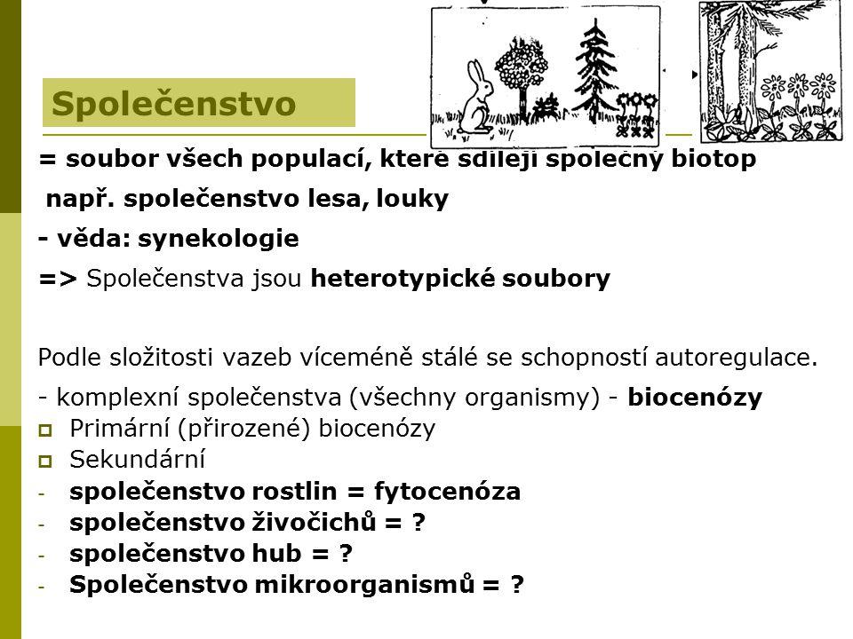 = soubor všech populací, které sdílejí společný biotop např. společenstvo lesa, louky - věda: synekologie => Společenstva jsou heterotypické soubory P
